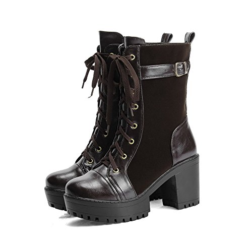 Women's top High up Soft Allhqfashion Brown Lace Material Boots Solid Low Heels YqS6wd