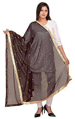 Cotton Wrap Embroidered - TMS Woman's Embroidered Chiffon Dupatta Scarf Shawl Wrap Soft Indian Bridal Wedding (Coffee)
