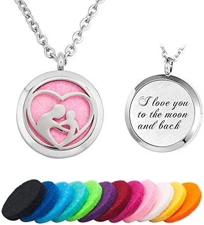 JewelryJo Love Heart Dad Mom Child Engraved Aromatherapy Essential Oil Diffuser Necklace Perfume Locket Pendants & Pads