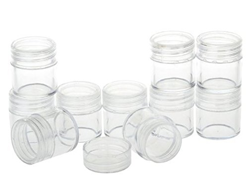 Healthcom New, Empty, Clear, 10 Gram Plastic Pot Jars, Cosmetic Containers for Eyshadow Makeup Nail Powder(50 Pcs) (Small Plastic Mason Jars)