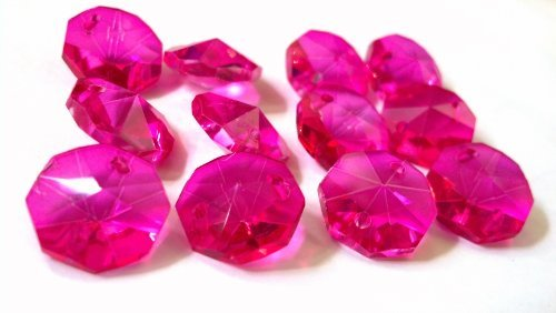 (Chandelier Crystals 14mm Fuchsia Octagon Prism Beads Pack of 12 Hot Pink)