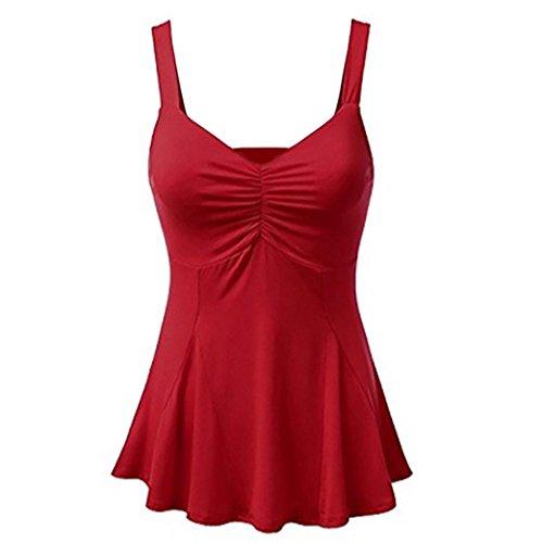 D't Camisole Gilet Manches Rouge sans Blouse Dbardeurs Casual de Shirts Solide Vtements ALIKEEY sans Femmes Dcontracts pour Manches Vacances T Haut Sexy Femmes BqAn5wx8IY
