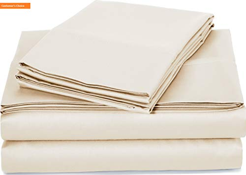 Mikash New Soft 400 Thread Count Sheet Set, 100% Cotton, Sateen Finish - Cal King, Beige | Style 84597945