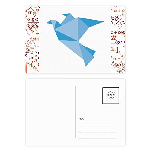 Origami Abstract Blue Pigeon Pattern Formula Postcard Set Thanks Card Mailing Side 20pcs -
