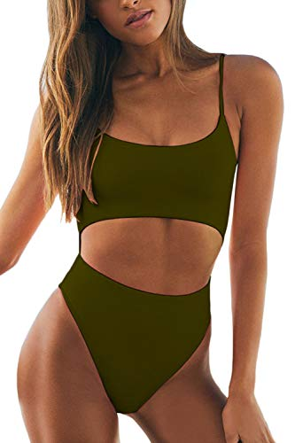 LEISUP Womens Spaghetti Strap Lace Up Beach Party One Piece for Summer,Green XL (One Piece Swimsuit Size Chart)