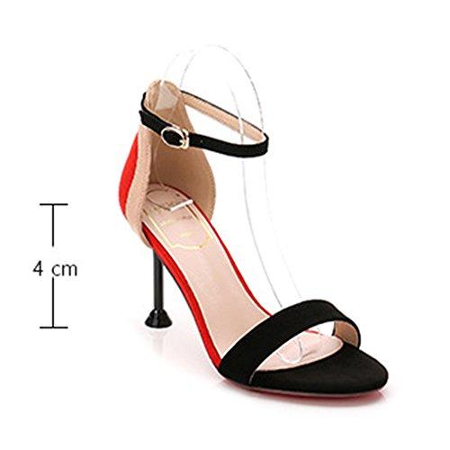 A Rotonda Parola Sandali Tacco Estate Spillo Scarpe Gomma Fashion Tacchi Sandalo Punta Black Donna Colorblocking In Antiscivolo Fibbia Suola xOwgOAn