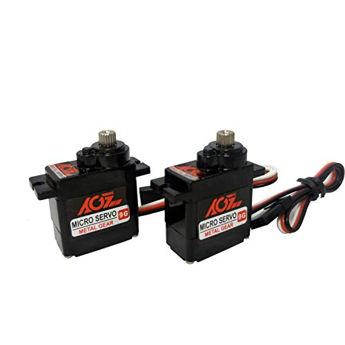 AGFrc Micro Servo 9g Servo Motor Kit - Upgrade 11g Metal Gear Mini Servo for RC Helicopter Airplane Boat Controls(2 Pcs)