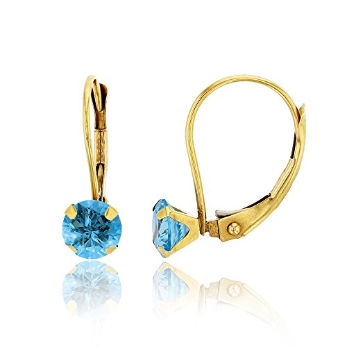 14K Yellow Gold 6mm Round Swiss Blue Martini Leverback Earring