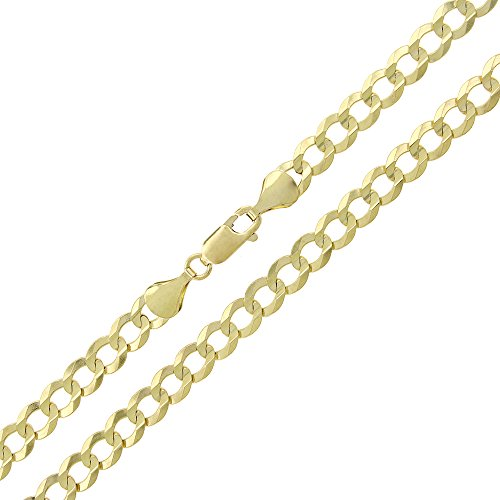 10k Yellow Gold 5.5mm Solid Cuban Curb Link Necklace Chain 20'' - 26'' (22) by In Style Designz