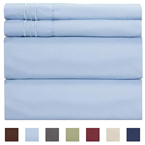 Full Size Sheet Set - 4 Piece - Hotel Luxury Bed Sheets - Extra Soft - Deep Pockets - Easy Fit - Breathable & Cooling - Wrinkle Free - Comfy - Light Blue Bed Sheets- Baby Blue Fulls - 4 PC (Linen And White Blue Bed)