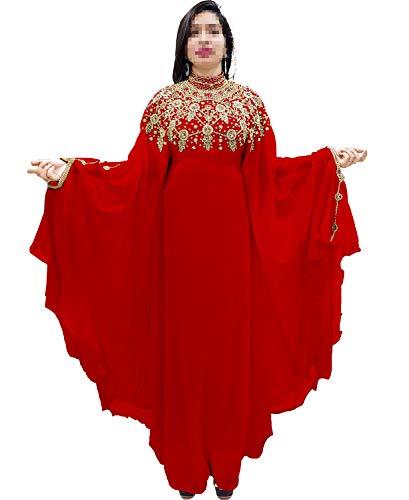 (African Boutique Dubai Kaftan Abaya Jalabiya Maxi Gown Hand Work Golden Beaded African Dress - Red)