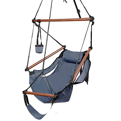 (ROVSUN Hanging Hammock Chair, Air/Sky Swing Rope Chair, Solid Wood Hanging Seat Pillow, Drink Holder, Armrest, Foot Rest Yard Garden Patio Indoor Outdoor Use, 250 lbs)