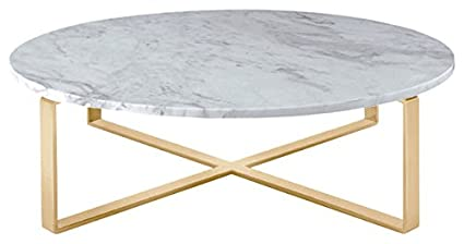 white marble coffee table Amazon.com: Rosa Round Marble Top Coffee Table with Brushed Gold  white marble coffee table