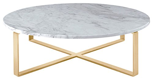 Rosa Round Marble Top Coffee Table with Brushed Gold Stainle