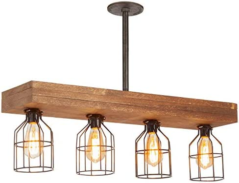 Farmhouse Lighting Triple Wood Beam Rustic Decor Chandelier Light -Rustic  Lighting for Kitchen Island Lighting, Dining Room, Bar, Industrial, and ...