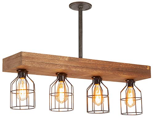 Farmhouse Lighting Triple Wood Beam Rustic Decor Chandelier Light -Rustic Lighting for Kitchen Island Lighting, Dining Room, Bar, Industrial, and Billiard Table-Wooden Vintage Light with Edison Cages