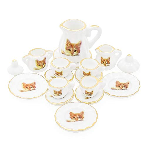 Odoria 1:12 Miniature 15PCS Porcelain Tea Cup Set Cat Pattern Dollhouse Kitchen Accessories ()