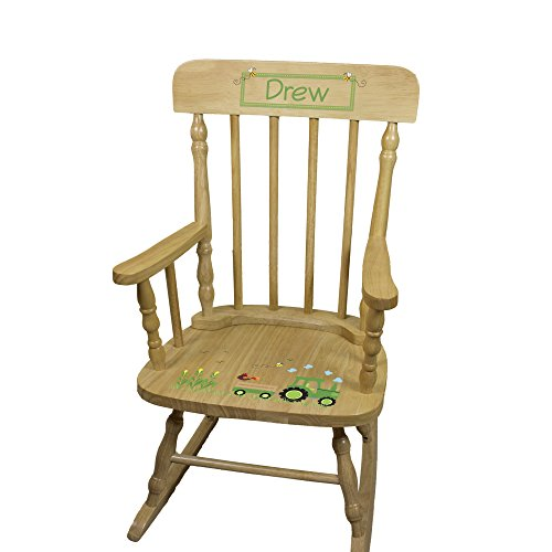 Personalized Wooden Tractor Rocking Chair by MyBambino