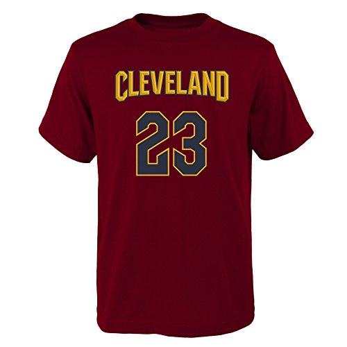 'Lebron James Cleveland Cavaliers #23 NBA Youth Boys Name & Number T-Shirt Burgundy, Youth Large (Nba High School Jersey)