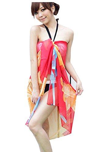 Femmes Robe Wrap Maillots De Bain Imprimé Rétro Floral Beachwear Mousseline Dissimulations Rose