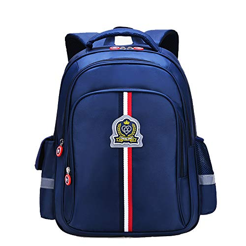Elementary kids backpack book bag waterproof Multi-pockets reflective strips school bags for Boys Girls in Primary Junior High School (Deep Blue, Small)