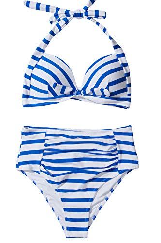 CUPSHE Women's Blue White Stripes Halter Moulded Cups Two Piece Swimsuit Large