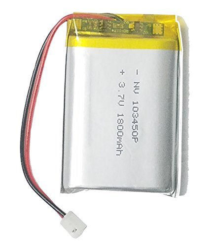 - Lithium Ion Polymer 3.7v Rechargeable Battery 1800mAh 2-pin PH-2P Connector 103450P by Atomic Market