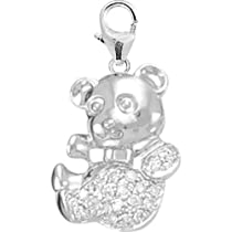 14K White Gold Teddy Bear Charm
