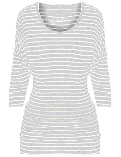 (Sejora 3/4 Long Sleeve Dolman Tunic Top Batwing Shirt - Many Colors & Sizes (X-Large, Striped Grey))