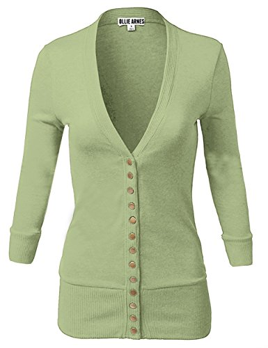 Price comparison product image OLLIE ARNES Women's 3 / 4 Sleeve Cardigan With Snap Button Closure 9_SAGE L