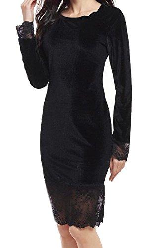Comfy Hollow Women Black Club Trim Gold Elegant Splicing Lace Velvet Dresses nnZSaq7
