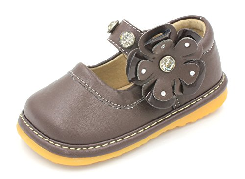 Toddler Shoes | Squeaky Brown Crystal Flower Mary Jane Toddler Girl Shoes | Premium Quality (Removable Squeakers) ()