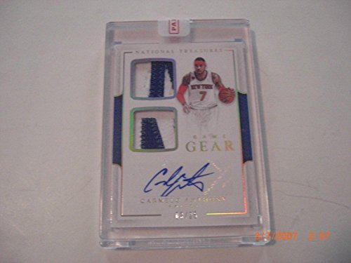 Carmelo Anthony National Treasures Game Used Dual Jersey Auto 03/25 Signed Card - Basketball Slabbed Autographed Cards (Carmelo Anthony Autographed Basketball)