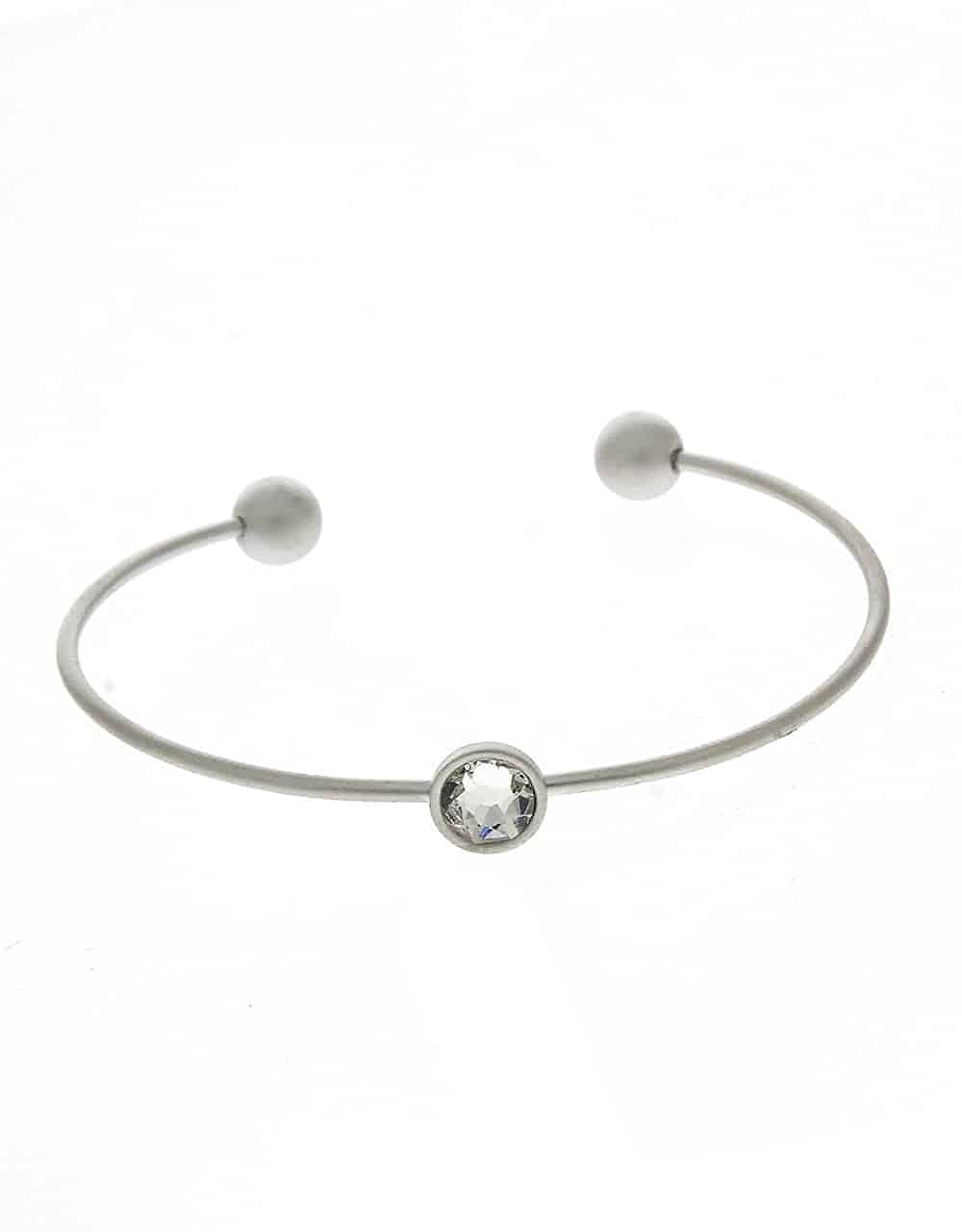 Anuradha Art Silver Tone Styled with White Colour Stone Kada//Hand Bracelet for Women//Girls