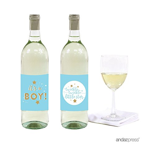 (Andaz Press Twinkle Twinkle Little Star Baby Blue Baby Shower Collection, Wine or Apple Cider Bottle Labels, 20-Pack)