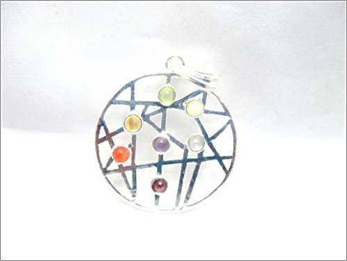(Jet New Design Round Metal Pendant Free Booklet Jet International Crystal Therapy 2 inch Approx. A++ Top Grade Jet International Healing Spiritual Divine India Chakra Image is JUST A Reference)