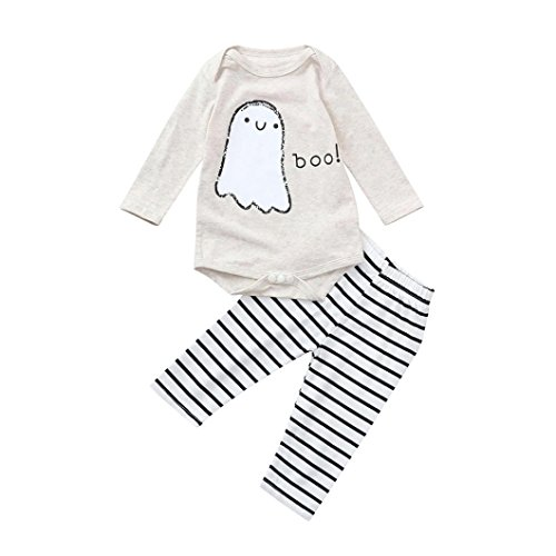 vermers Toddler Infant Clothes Set - Baby Girls Boys Letter Printed Romper Striped Pants Halloween Costume Outfits(18M, Beige)