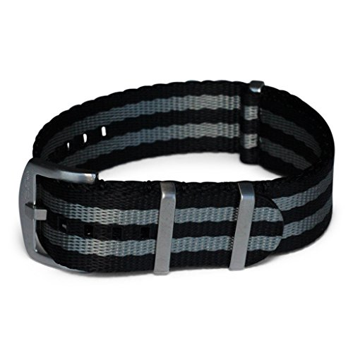 AlphaShark by BluShark - 22mm Luxury Seat Belt Nylon Watch Strap - 22mm Bond Black and Gray by BluShark
