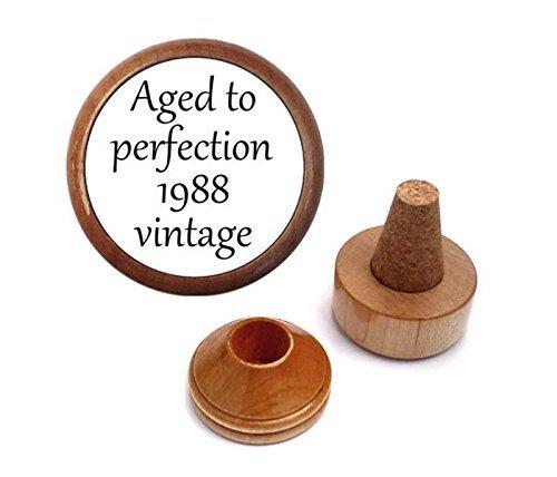 1988 Enamel (Unique 30th Birthday Gift Idea for Boyfriend Him Men Husband Girlfriend Women Her Wife | Wine Bottle Stopper Set | Aged to perfection 1988 vintage)