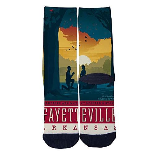 Mens Womens Casual Fayetteville Arkansas Retro Travel Poster Socks Novelty Custom Socks Hip Hop Cartoon Socks Elite Crew Socks Black]()