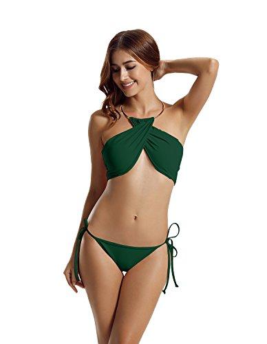 zeraca mujeres de alta cuello Criss Cross Tie Side Bikini bañadores green (Everglade Green)