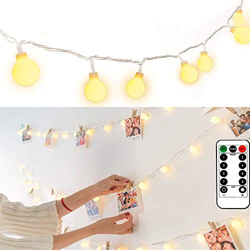 String Lights Battery Powered 100 LED Globe String Lights Waterproof Fairy Lights with Remote & Timer Hanging Lights String for Patio Garden Party Xmas Tree Wedding, Warm White ()