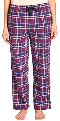 Womens Flannel Pajama Pants, Long 100% Cotton Pj Bottoms,Size Large Purple ()
