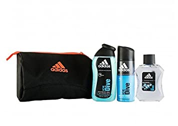 24bb6900041d Amazon.com   Adidas Ice Dive Gift Set 100ml Spray EDT + 150ml Deodorant  Body Spray + 250ml Shower Gel + Toiletry Bag   Beauty