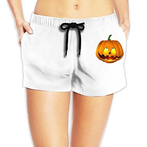 Pumpkin Face Halloween Women's Beach Pants, Solid Boardshorts Long Workout (College Station Halloween Events)