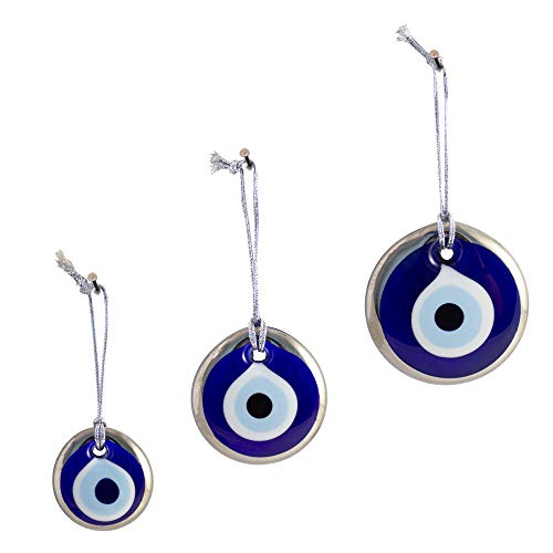 Ebsem Platinum Plating Handmade Evil Eye Turkish Greek Glass Charm Decorative Ornament for Good Luck, Success and Protection (1.5