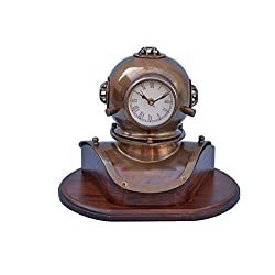 Hampton Nautical DH-0820-AN Antique Brass Divers Helmet Clock On Wood Base 12 - Divers Helmet - Decorative Dive Helmet