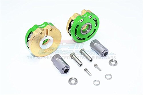 Traxxas TRX-4 Trail Defender Crawler Upgrade Parts Brass Pendulum Wheel Knuckle Axle Weight With Alloy Lid + 23mm Hex Adapter - 1Pr Set Green ()