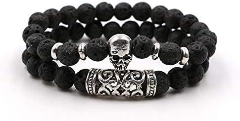 Amazon.com: Ochoos Bracelets & Bangles Lava Tiger Eyes Natural Stone Beads Steampunk Skull Head Bracelets Sets Viking Jewelry for Men and Women - (Metal Color: Lava): Arts, Crafts & Sewing
