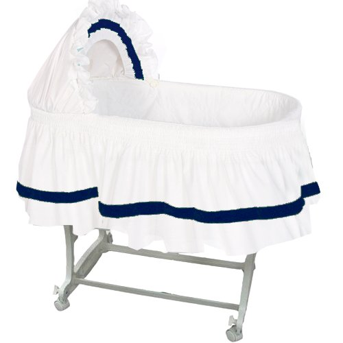 aBaby Modern Style Short Bassinet Skirt, Navy, Small 009243440819
